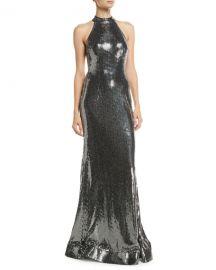 Jovani Allover Sequin Halter Dress at Neiman Marcus