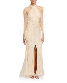 Jovani Beaded Open-Back Front-Slit Halter Gown at Neiman Marcus