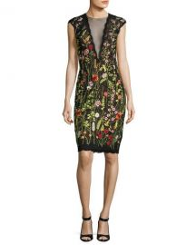 Jovani Cap-Sleeve Floral Open-Back Cocktail Dress  Multicolor at Neiman Marcus