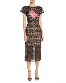 Jovani Floral-Insert Lace Dress w  Short Sleeves at Neiman Marcus