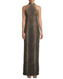 Jovani Halter-Neck Long Layered Chain Dress at Neiman Marcus