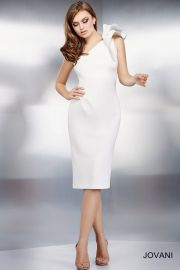 Jovani One-Shoulder Bow Cocktail Dress in White at Neiman Marcus