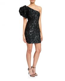 Jovani Sequin Puff One-Shoulder Short Cocktail Dress at Neiman Marcus