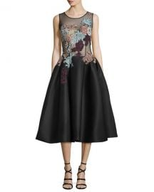 Jovani Sleeveless Embroidered Fit  amp  Flare Dress at Neiman Marcus