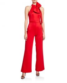 JovaniHalter Jumpsuit with Bow Detail at Neiman Marcus