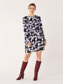 Joyce Silk Crepe De Chine Mini Dress at DvF