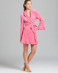 Juicy Couture Velour Robe in pink at Bloomingdales