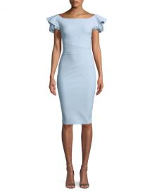 Julienne Tiered-Sleeve Cocktail Sheath Dress at Neiman Marcus