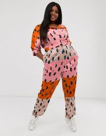 Jumpsuit with Belt in Contrasting Leopard Print by Liquorish  at Asos