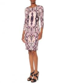 Just Cavalli 34-Sleeve Butterfly-Print Dress at Neiman Marcus
