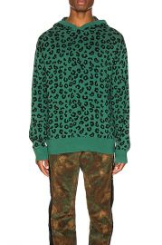 Just Don Jungle Leopard Sweater Hoodie in Green   FWRD at Forward