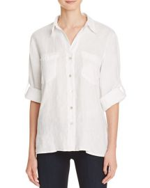 Just Living Roll Sleeve Linen Boyfriend Shirt in White at Bloomingdales