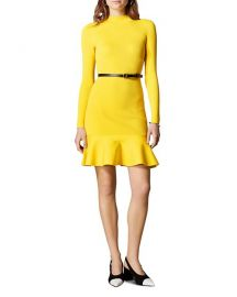 KAREN MILLEN BELTED RIB-KNIT DRESS WOMEN at Bloomingdales