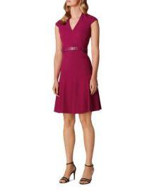 KAREN MILLEN Belted Fit-and-Flare Dress Women - Bloomingdale s at Bloomingdales