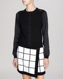 KAREN MILLEN Cardigan - Fine Gauge Knit Collection with Silk Sleeves at Bloomingdales