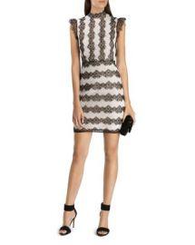 KAREN MILLEN Color-Blocked Lace Dress at Bloomingdales