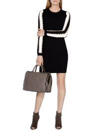 KAREN MILLEN Cutout Contrast Sleeve Knit Dress at Bloomingdales