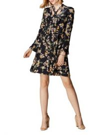 KAREN MILLEN Daisy Print Tie-Neck Dress Women - Bloomingdale s at Bloomingdales