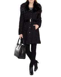 KAREN MILLEN Faux Fur Collar Quilted Coat at Bloomingdales