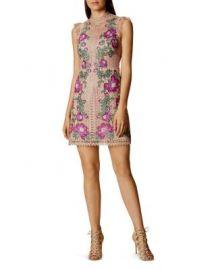 KAREN MILLEN Floral-Embroidered Mini Dress at Bloomingdales