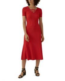 KAREN MILLEN Lace-Up Rib-Knit Midi Dress  Women - Bloomingdale s at Bloomingdales