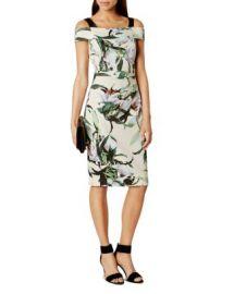 KAREN MILLEN Lily-Print Cold-Shoulder Dress at Bloomingdales