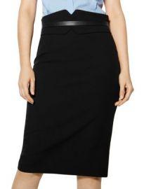 KAREN MILLEN Notched Banded-Waist Pencil Skirt Women - Bloomingdale s at Bloomingdales