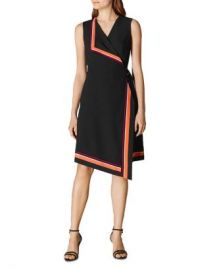 KAREN MILLEN Striped Detail Faux-Wrap Dress  Women - Bloomingdale s at Bloomingdales