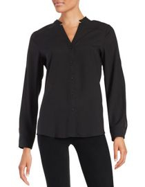 KARL LAGERFELD PARIS Crepe Button-Front Shirt at Lord & Taylor