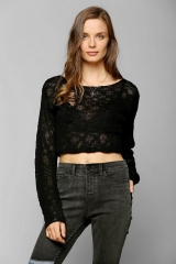 KC By Kill City Boucle Cropped Sweater in black at Urban Outfitters