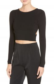 KENDALL   KYLIE Cutout Back Long Sleeve Crop Top at Nordstrom