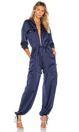 KENDALL   KYLIE Satin Convertible Cargo Jumpsuit in Navy from Revolve com at Revolve