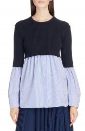 KENZO Knit Overlay Cotton Blouse at Nordstrom