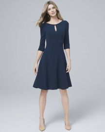 KEYHOLE-NECK KNIT FIT AND FLARE DRESS at WHBM