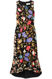 KIA FLUTED FLORAL-PRINT STRETCH-CADY MIDI DRESS at Net A Porter