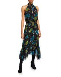 Kaia Printed Asymmetric Halter Dress at Bergdorf Goodman