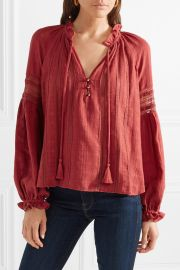 Kalina lace-trimmed cotton blouse at Net A Porter