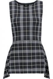 Kalora checked stretch-knit peplum top at The Outnet