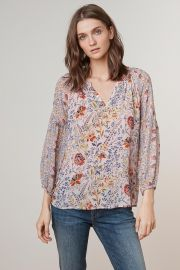 Kandee Floral Printed Viscose Peasant Top by Velvet by Graham & Spencer at Velvet