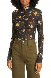 Kanu Ruched Floral Print Mesh Top at Nordstrom