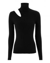 Kara Cutout Black Knit Sweater at Intermix