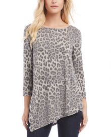 Karen Kane Leopard-Print Cross-Back Asymmetrical Top   Reviews - Tops - Women - Macy s at Macys