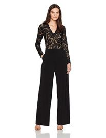 Karen Kane Women\'s Ava Contrast Lace Jumpsuit at Amazon