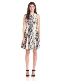 Karen Kane Womenand39s Snake-Print Fit-and-Flare Dress at Amazon