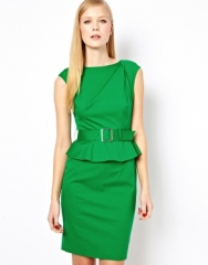 Karen Millen  Karen Millen Shift Dress with Peplum Waist and Detachable Belt at Asos