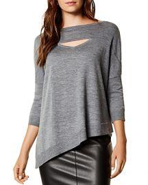 Karen Millen Asymmetric Cutout Wool Sweater at Bloomingdales
