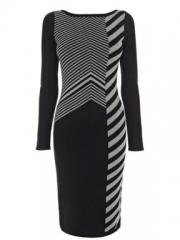 Karen Millen Graphic Chevron Knit Dress at House of Fraser