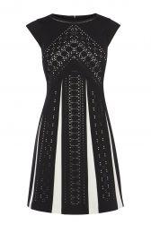 Karen Millen Laser Cut Monochrome Dress at Karen Millen