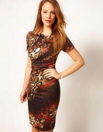 Karen Millen Red Snake Print Dress at asos com at Asos
