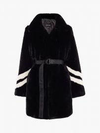 Karen Millen Striped Faux-Fur Coat at John Lewis